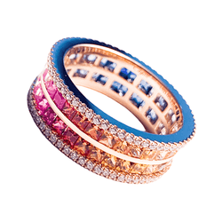 18K Rose Gold Rainbow Sapphire Eternity Ring - Unisex