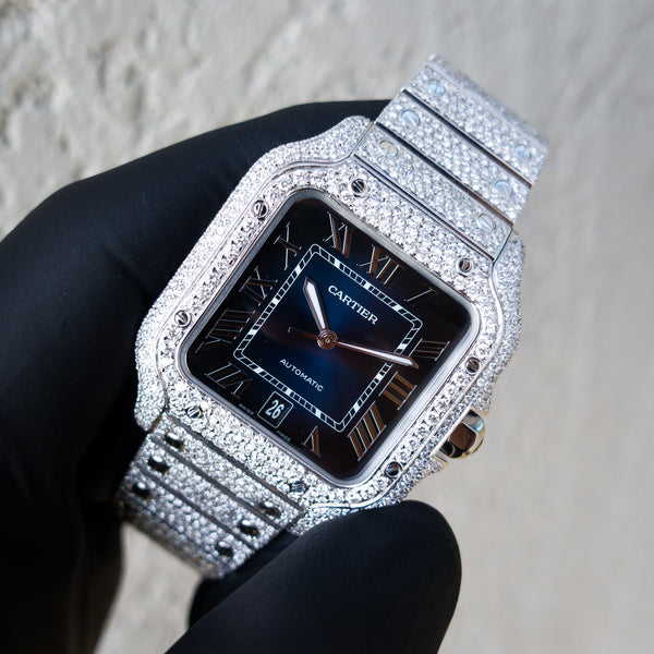 Santos De Cartier - Steel  - Blue Dial - Custom Honeycomb Diamond Set