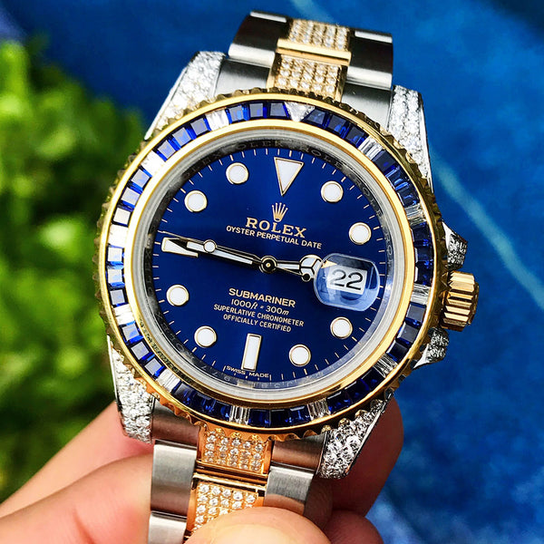 Custom Rolex Submariner - Bi-Metal Blue - Full Diamond Centre Links
