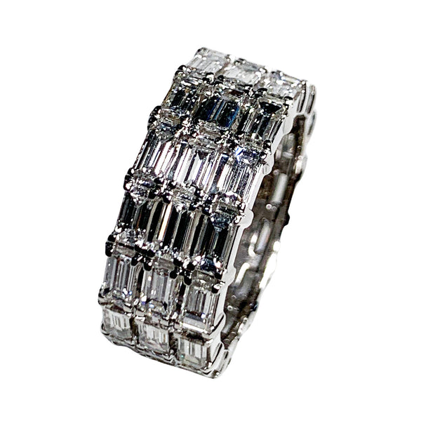 18K White Gold 3 Row Baguette Eternity Ring - Unisex