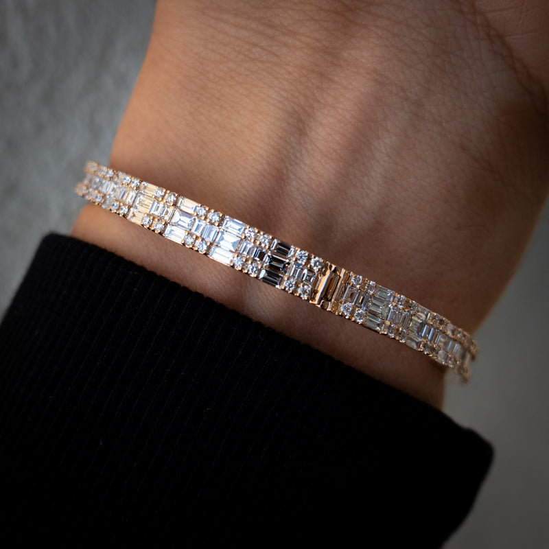 Unisex 18K Rose Gold Bangle - 11.4ct Baguette & Round-Cut Diamonds