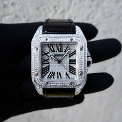 Cartier Santos 100 L - Leather - Custom Diamond Set & Dial