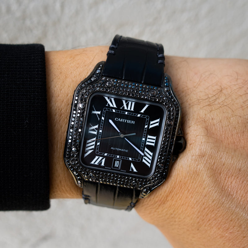 Cartier Santos De Cartier - Black Diamond & Leather  - Custom Diamond Set