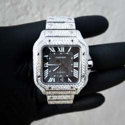 Cartier - Santos De Cartier - Steel  - Grey Dial - Custom Honeycomb Diamond Set