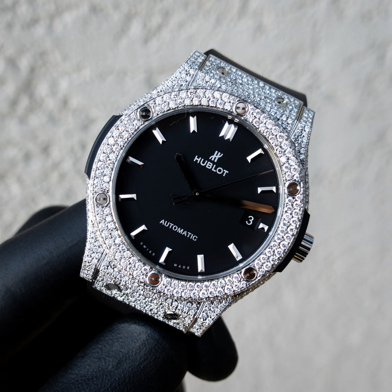 Hublot - Classic Fusion - Titanium - Black Dial - Custom Honeycomb Diamond Set