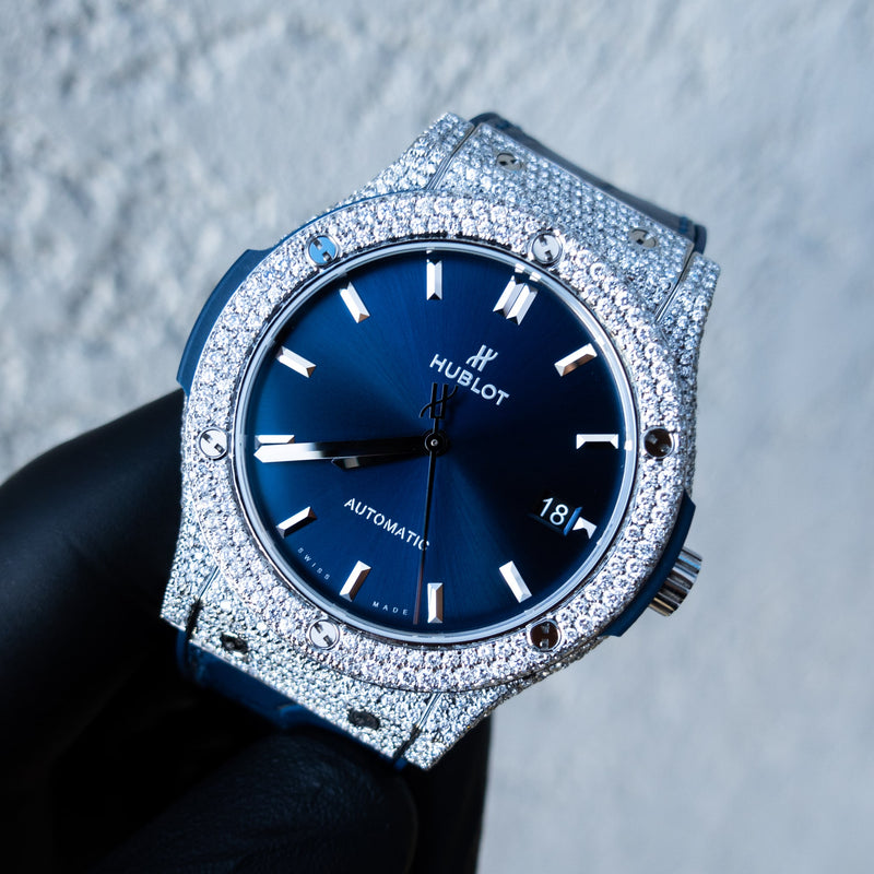 Hublot - Classic Fusion - Titanium - Blue Dial - Custom Honeycomb Diamond Set