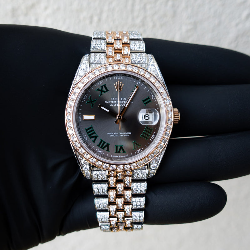 "Rolex Datejust 41 - ""Wimbledon"" Dial - 18ct Everose Gold & Oystersteel - Jubilee - Custom Diamond Set"