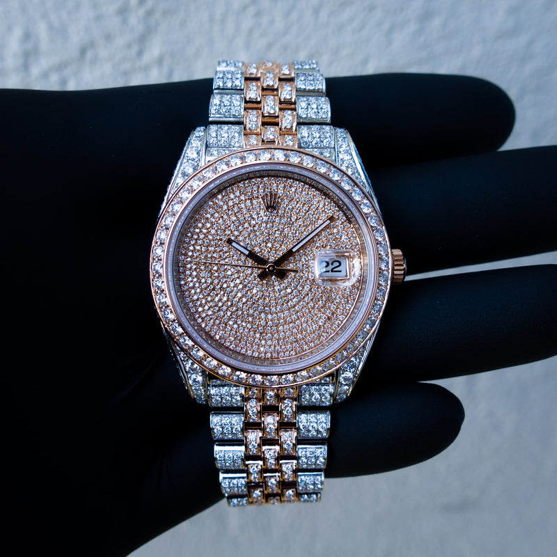 Rolex Datejust 41 - 18CT Everose gold & Oystersteel - Jubilee - Custom Diamond Set & Covert Dial