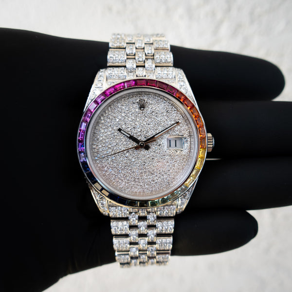 Rolex Datejust 41 - Oystersteel - Jubilee - Custom Diamond Set - Covert Dial - Rainbow