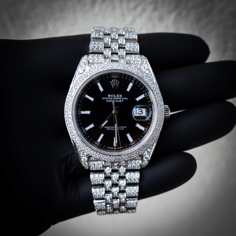 Rolex Datejust 41 - Oystersteel - Jubilee - Black Dial - Custom Diamond Set (Pavé Bezel)