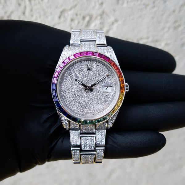 Rolex Datejust 41 - Oystersteel - Oyster - Custom Diamond Set - Covert Dial - Rainbow