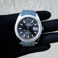 Rolex Datejust 41 - Oystersteel - Oyster - Custom Pave Bezel - Grey Rhodium Dial - Horus Grey