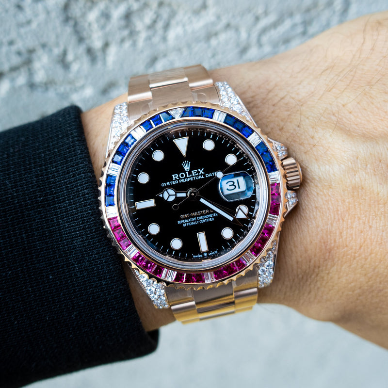 "Rolex GMT-Master II - 18CT Everose Gold ""Pepsi""- Oyster - Custom Diamond Set"
