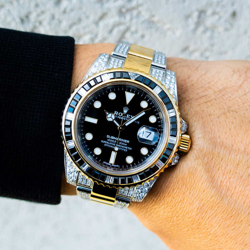 Rolex Submariner - 18ct Yellow Gold & Oystersteel - Oyster - Custom Diamond & Black Onyx Bezel