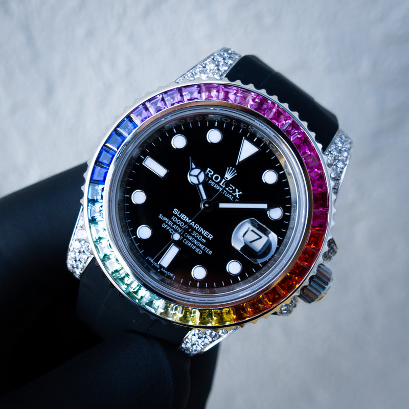 Rolex Submariner Date - Oystersteel - Oyster - Rainbow - Custom Diamond Set - Horus Black