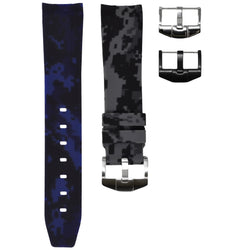 "Horus - Blue & Black ""Batman"" (Camo) Rolex Rubber Watch Strap"