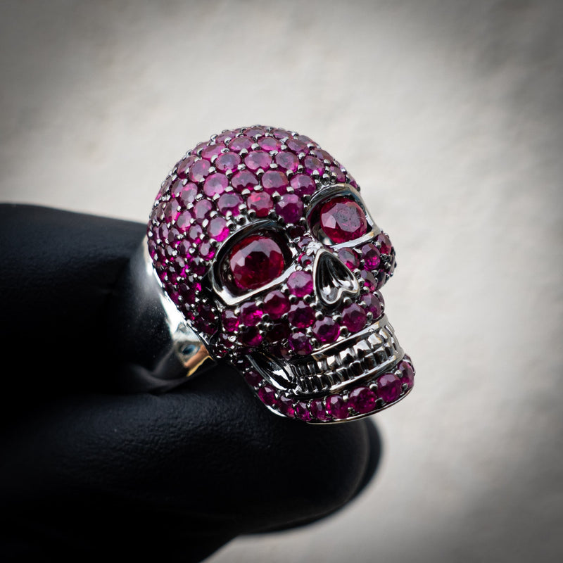 18K White Gold Skull Ring - 3.5ct Ruby