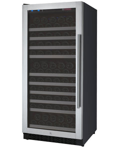 "Allavino - 24"" Wide FlexCount II Tru-Vino 128 Bottle Single Zone Stainless Steel Wine Refrigerator - VSWR128-1SL20 - VSWR128-1SR20"