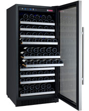 "Load image into Gallery viewer, Allavino - 24"" Wide FlexCount II Tru-Vino 128 Bottle Single Zone Stainless Steel Wine Refrigerator - VSWR128-1SL20 - VSWR128-1SR20"
