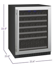"Load image into Gallery viewer, Allavino - 24"" Wide FlexCount II Tru-Vino Series 56 Bottle Single Zone Stainless Steel Wine Refrigerator - VSWR56-1SR20 - VSWR56-1SL20"