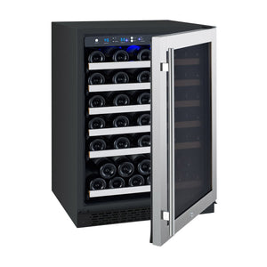 "Allavino - 24"" Wide FlexCount II Tru-Vino Series 56 Bottle Single Zone Stainless Steel Wine Refrigerator - VSWR56-1SR20 - VSWR56-1SL20"