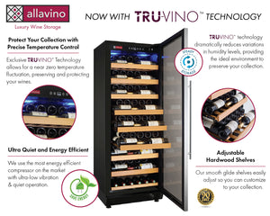 "Allavino - 24"" Wide Vite II Tru-Vino 99 Bottle Single Zone Stainless Steel Right Hinge Wine Refrigerator - YHWR115-1SR20"