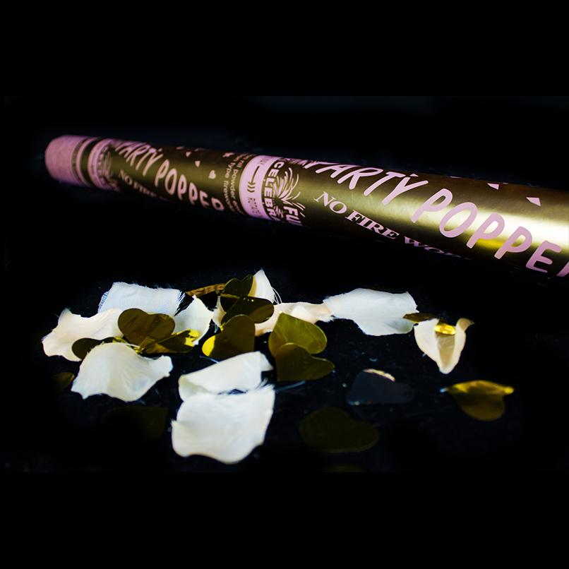 Popper cannon with gold confetti and ivory petals - Deventor