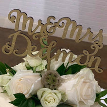 Load image into Gallery viewer, Custom Calligraphy Mr and Mrs Wedding Cake Topper-Gold