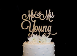 Custom Mr & Mrs Wedding Cake Topper