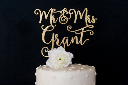 Custom Last Name Mr and Mrs Wedding Cake Topper
