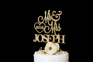 Custom Wedding Cake Topper With Date