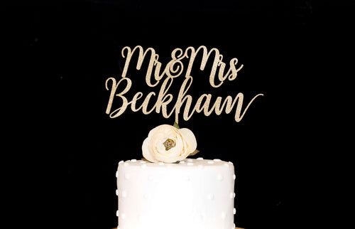 Custom  Mr and Mrs  Wedding Cake Topper