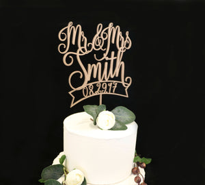 Custom Wood Rose Metallic Gold Wedding Cake Topper With Date