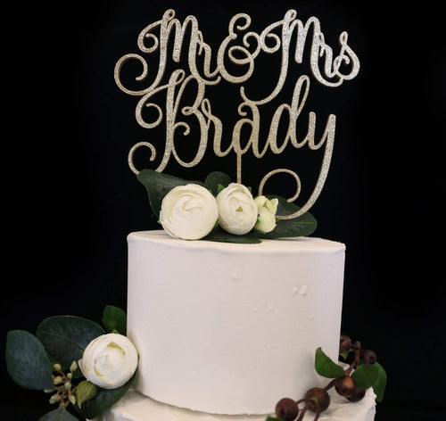 Custom Script Mr and Mrs  Wedding Cake Topper