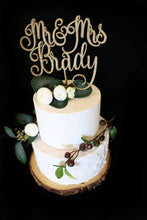 Load image into Gallery viewer, Custom Script Mr and Mrs  Wedding Cake Topper