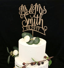 Load image into Gallery viewer, Custom Wood Rose Metallic Gold Wedding Cake Topper With Date