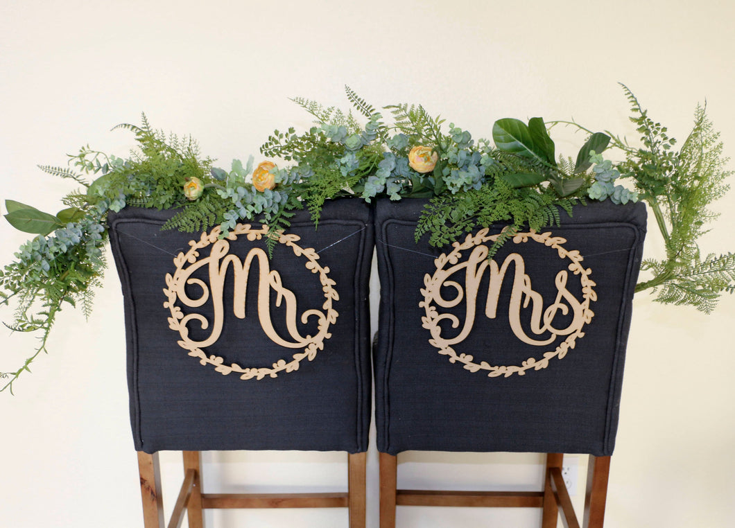 Mr and Mrs Wood Chair Signs- (Set of 2) 11