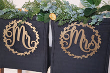 "Load image into Gallery viewer, Mr and Mrs Wood Chair Signs- (Set of 2) 11""x11"" Gold Wedding Chair Sign"