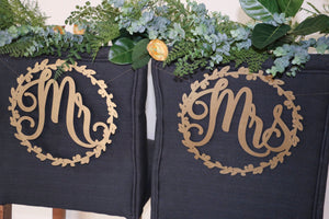 "Mr and Mrs Wood Chair Signs- (Set of 2) 11""x11"" Gold Wedding Chair Sign"