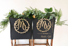 "Load image into Gallery viewer, Bride and Groom Wood Chair Signs- (Set of 2) 11""x11"" Gold Wedding Chair Sign"