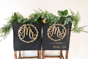 "Bride and Groom Wood Chair Signs- (Set of 2) 11""x11"" Gold Wedding Chair Sign"