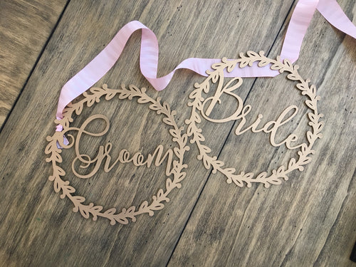 Bride and Groom Wood Chair Signs- (Set of 2) 11