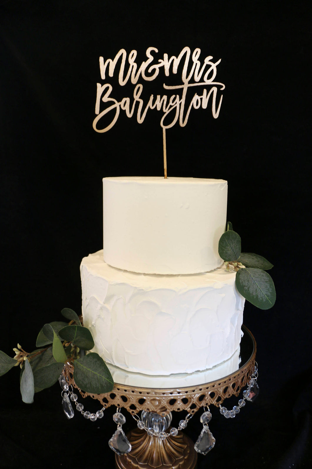 Custom Calligraphy Mr and Mrs Wedding Cake Topper-Gold