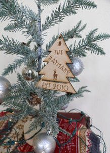 Custom Family Name Christmas Tree Ornament