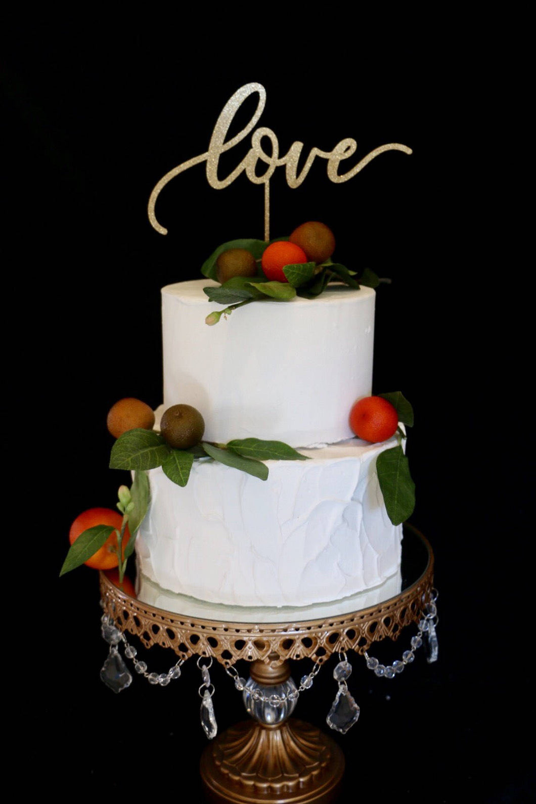 Calligraphy Love Wedding Cake Topper- Glitter Gold