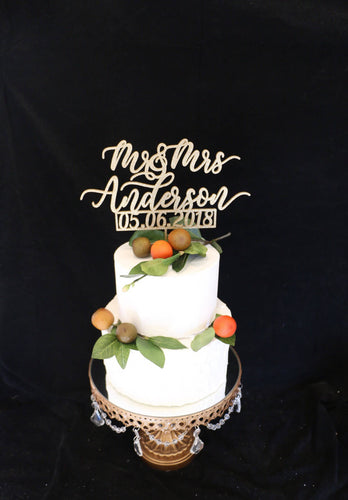 Custom Calligraphy Wedding Cake Topper With Date