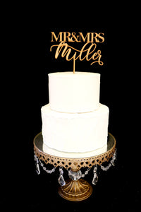 Custom Modern Calligraphy Mr and Mrs Wedding Cake Topper-Gold