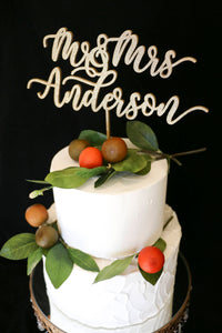 Custom Calligraphy Wedding Cake Topper