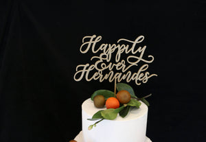 Custom Happily Ever Last Name Wedding Cake Topper