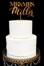 Load image into Gallery viewer, Custom Modern Calligraphy Mr and Mrs Wedding Cake Topper-Gold